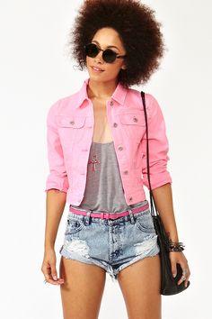 Neon Denim Jacket in Pink
