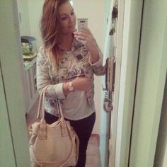 OOTD #shirt #handbag #jacket #ombrehair #watches #leggins