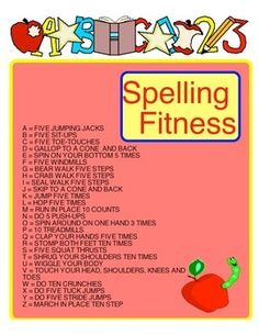 Spelling fitness is a task card you can hand out to students in groups of 3 -4. They can spell their first names, they can spell vocabulary words from the unit you are on to create a fun warm up that will allow you to also review vocabulary words at the same time. Elementary Physical Education, Physical Education Activities, Elementary Pe, Pe Activities, Movement Activities, Fitness Activities, Health Education, Pe Lesson Plans, Pe Lessons