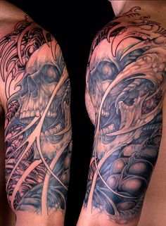 Skull Tattoos 48 - 80 Frightening and Meaningful Skull Tattoos Evil Skull Tattoo, Sugar Skull Tattoos, Retro Tattoos, Tattoos Arm Mann, Arm Tattoos For Guys, Creepy Tattoos, Cool Tattoos, Tatoos, Awesome Tattoos