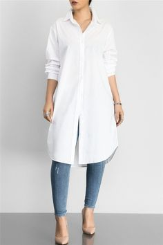 Solid Color Shirt Dress - From dream wedding dresses and party dresses to perfect prom dresses and evening dresses, you& sure to find a fabulous style to match every occasion. Source by - Plain Shirts, White Shirts, Casual Outfits, Fashion Outfits, Fashion Ideas, Work Outfits, Dress Fashion, White Tunic, Perfect Prom Dress