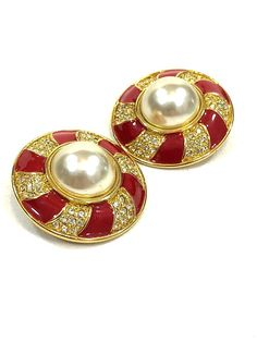 Gold & Red Enamel Statement Earrings, Faux Pearl Rhinestones, Round Pinwheel Design, High Fashion Couture, 1980s Vintage Glamour Jewelry