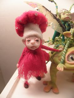 ooak polymer clay art dolls ( mushroom fairies love frogs ) by DinkyDarlings