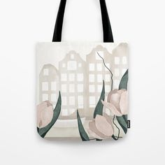 """High quality floral art tote bag in earthy colors for your shopping or your yoga class. Its premium canvas like material makes it perfect to carry your groceries, books, laptop for your trip to the market, gym, or university. The artwork is placed in the Dutch canals surrounded by nature, the iconic tulips, in a calm and elegant depiction using watercolor and rough textures. Available sizes 13""""x13"""" 16""""x16"""" 18""""x18"""" #minimalist#shoppingbag Amsterdam Canals, Cute Presents, Gifts For An Artist, Printed Tote Bags, Beach Towel, Laptop Sleeves, Tulips, Hand Sewing, Shopping Bag"""