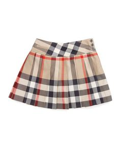 Side-Button Check Kilt, Sizes 7-10 by Burberry at Neiman Marcus.
