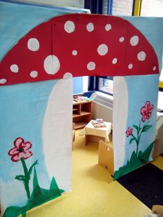 little house RHS School Decorations, School Themes, Diy For Kids, Crafts For Kids, Red And White Mushroom, Mushroom Crafts, Fairy Tale Theme, Toddler Themes, Small World Play