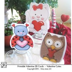 Valentine Cards to Print - Featuring Owl, Kitty Cat, Lady Bug, Cute Elephant, Monster, Robot, Monkey, Dog, and Frog - Adorable Valentine cards for Kids and Grand kids - children -  Make your own. Print at home and embellish with wiggly - googly eyes - Gina Jane Designs - DAISIE Company