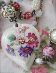 French Porcelain-antique french porcelain hand painted heart assemblage necklace on Etsy, $138.00