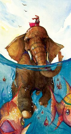 Cruisin' by Mai S. Kemble - Elephant in water with fish Elephant Love, Elephant Art, Elephant Illustration, Illustration Art, Whimsical Art, Illustrations, Cute Art, Bunt, Art Inspo