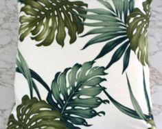 Items similar to tropical aqua hibiscus barkcloth 50cm sq cushion cover on Etsy