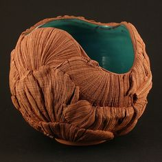 Turquoise Textured Bowl  Wheel thrown and altered, terracotta clay and aquamarine glaze