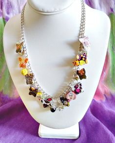 Charm necklace Bauble necklace Butterflies by BeadFashionistaShop