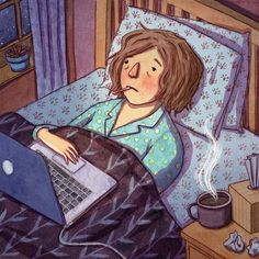 Fighting the Flu: When You Need to Stay Home and in Bed - WSJ - Daniel Neides of the Wellness Institute at Cleveland Clinic on What Bed Rest Really Means Flu Memes, Flu Quotes, Sick Meme, Fighting The Flu, Girls In Bed, Flu Season, Feeling Sick, How To Draw Hands, Aurora Sleeping Beauty