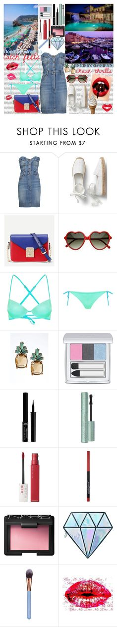 """""""Do You Mind If I Steal A Kiss?"""" by luvmrb61899 ❤ liked on Polyvore featuring Moschino, WithChic, Topshop, Banana Republic, RMK, Giorgio Armani, Maybelline, NARS Cosmetics, Unicorn Lashes and Luxie"""