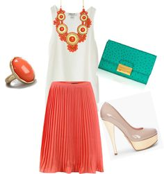 """""""Coral skirt"""" by karlamckay on Polyvore"""