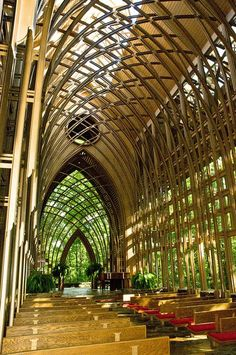 Interior view of Mildred B. Cooper Memorial Chapel in Bella Vista, Arkansas by renowned Arkansas architect Euine Fay Jones, a student of Frank Lloyd Wright
