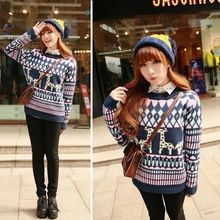 Best Price ! Autumn Women Pullovers Thick Christmas Reindeer Long Sleeve Crochet Sweaters 2 Colors 30(China (Mainland))