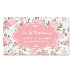 Vintage floral business card calling card mommy card contact vintage floral business card calling card mommy card contact card interior designer event planner calling cards business cards business cards reheart Gallery