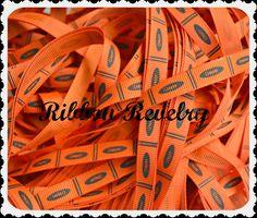 Orange Crayon 3/8 grosgrain ribbon back to school by ribbonrevelry