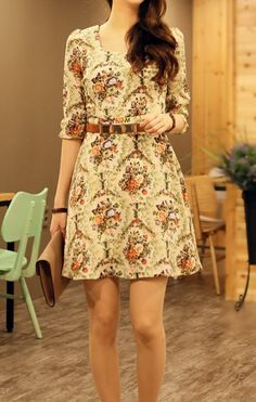 Romantic Floral dress/flower pattern dress/Vintage Inspired Dress/party dress/long sleeve dress/day dress/mini dress