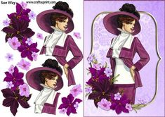 Burgundy Flowers Vintage Fashion Lady Decoupage on Craftsuprint designed by Sue Way - A vintage fashion lady in shades of purple Burgundy Flowers, Purple Lace, Deco Podge, Image Stitching, Image 3d, Dress Card, 3d Cards, Decoupage Paper, All Things Purple