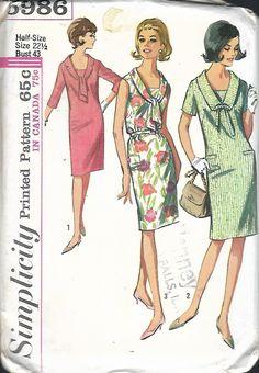 Vintage 1965 Simplicity 5986 One-Piece Mod Shift Dress In Women's Sizes