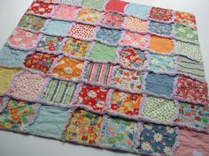 THE PAPER DOLL - Rag quilt patchwork blanket
