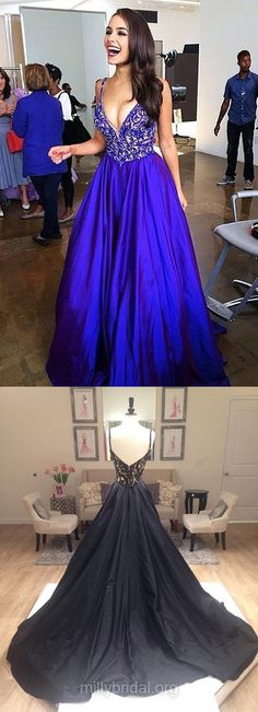 Royal Blue Prom Dresses Long, Prom Ball Gowns, Beautiful Prom Dresses A-line, V-neck Prom Dresses Satin Sweep Train with Beading
