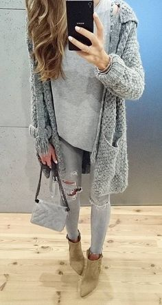 #fall #outfits · Grey Wool Trench // Destroyed Jeans // Suede Ankle Boots