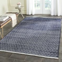 Safavieh Hand-Tufted Boston Navy Cotton Rug (8' x 10') | Overstock.com Shopping - The Best Deals on 7x9 - 10x14 Rugs