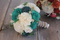 Turquoise Teal & Ivory Sola Bouquet Turquoise Sola Bouquet