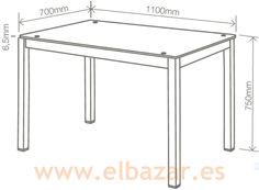 Mesa cocina cristal y estructura color negro