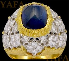 M.BUCCELLATI Cabochon Sapphire and Diamond Ring