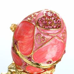 Faberge  figurine with crystals in red Bejeweled flower motif trinket box with
