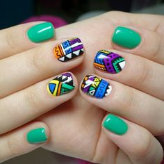 Tribal Print Nails, Tribal Prints, Garra, Bohemian Nails, Indian Nails, Stylish Nails, Short Nails, Nails Inspiration, Nail Designs