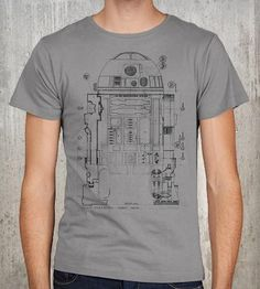 Grunge Robot Blueprint T-Shirt By Crawlspace Studios. Storm colored tee featuring a drawing of the plans for R2D2. For your inner Star Wars nerd.