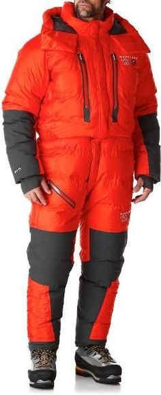 Mountain Hardwear Men's Absolute Zero Climbing Suit State Orange S Absolute Zero, Down Suit, Cold Weather Gear, Op Logo, Mountain Hardwear, Down Parka, Mens Suits, Climbing, Outfits