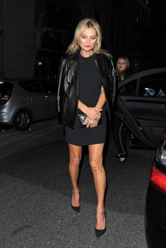 The most classic combo around on Kate Moss: an LBD and black leather jacket