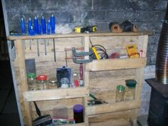 Wood pallet reuse #shelving #organization #garage #upcycle