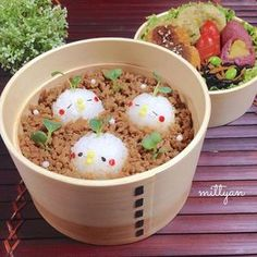 Cute soboro bento with chicks. Mignons poussins dans un bento soboro foods#japanesestyle#lin_stagrammer#onigiri#obento#cutefood#kyaraben