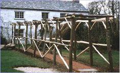 Pergola with Trellis on one side Rustic Pergola, Wood Pergola, Trellis Fence, Sweet Chestnut, Forest School, Outdoor Structures, Google Search, Garden, Lattice Fence