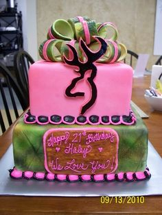 Pink Camo Cakes | Hot Pink Camouflage — Birthday Cake Photos