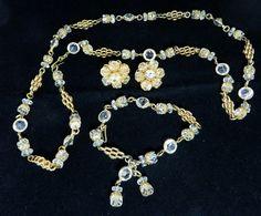 Eisenberg Jewelry Set Crystal Goldtone Necklace Bracelet
