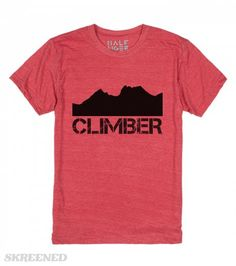 climber t shirt | featuring a mountain silhouette (Cradle Mountain in Tasmania) and the text 'Climber', copyright Mindgoop #Skreened