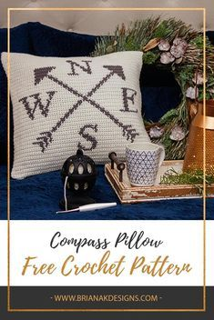 Crochet Ideas Free Crochet Tapestry Compass Pillow Pattern by Briana K Designs. Life is a journey and only you hold the compass to your path. Be sure to make that path crafty! - This AD-free PDF includes both the written and chart/picture instructions. Crochet Cushion Cover, Crochet Pillow Pattern, Knit Pillow, Crochet Cushions, Crochet Pillow Covers, Tapestry Crochet Patterns, Pillow Room, Yarn Projects, Crochet Projects