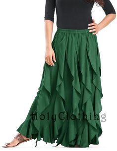 Talia Gypsy Ruffle Asymmetrical Layered Flared Peasant Skirt - Skirts Forest Green
