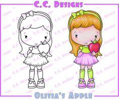 "C.C. Designs Swiss Pixie ""Olivia's Apple"" Rubber Stamp"