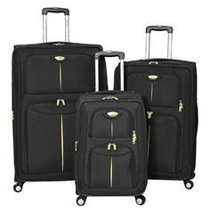 American Green Travel Icon Series Expandable Luggage Set Black >>> This is an Amazon Affiliate link. For more information, visit image link.