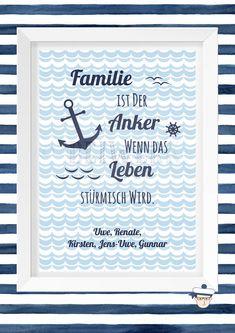 """Weiteres - Kunstdruck A4 """"Familie ist der Anker"""" - ein Designerstück von beiwerk-fl bei DaWanda"""