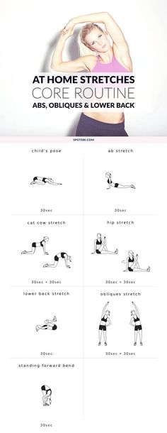 Finish your core workout with this static stretching routine. Abs, obliques and lower back stretches to increase your flexibility and release all tension. http://www.spotebi.com/workout-routines/core-static-stretching-exercises/